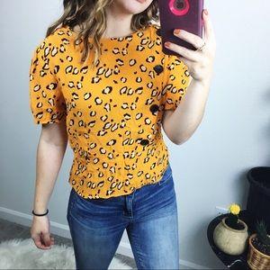 Topshop cheetah print blouse